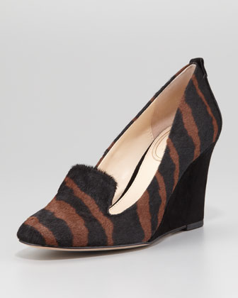 Fadi Zebra-Printed Calf-Hair Wedge Pump, Saddle/Black