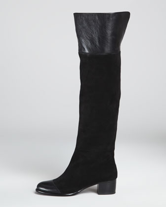 Sabra Suede/Leather Over-the-Knee Boot, Black