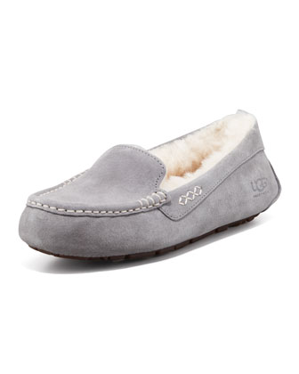 Ainsley Moccasin Slipper, Light Gray