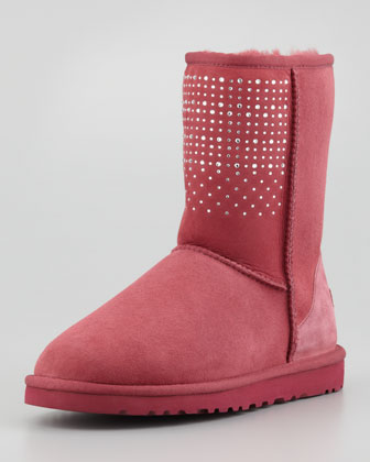 Bling Studded Short Boot, Sangria