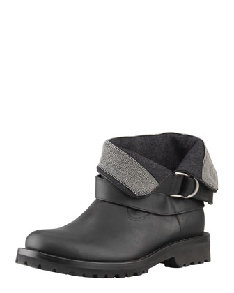 Fold-Over Bead-Detailed Ankle Boot, Black