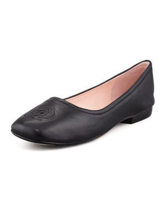 Barny Rose-Embossed Leather Flat, Black