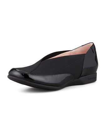 Treva Elastic & Patent Slip-On, Black
