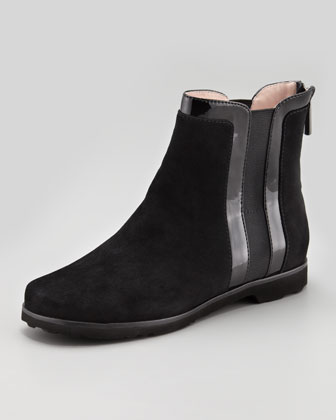 Jann Gored Suede Bootie, Black