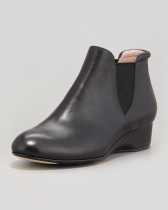 Franklyn Napa Leather Flat Bootie, Black