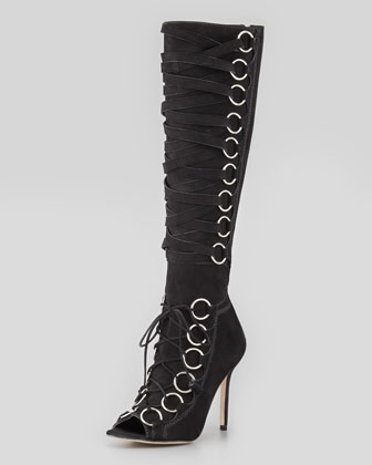 Zeva Suede Lace-Up Boot, Black