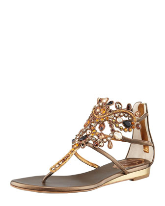 Crystal Caged Crown Thong Sandal, Bronze
