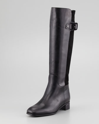 Liona Leather/Suede Knee Boot, Black