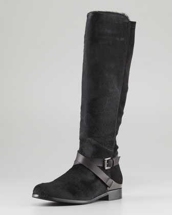 Darla Calf Hair Knee Boot, Black