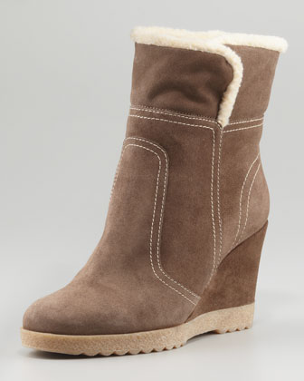 City Suede Wedge Bootie, Smog