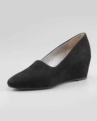 Pride Stretch Suede Wedge, Black