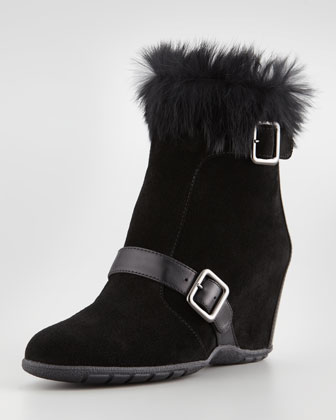 Vividly Suede Rabbit-Collar Wedge Bootie