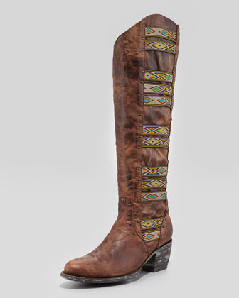 Elina Ganado Embroidered Leather Boot, Brass