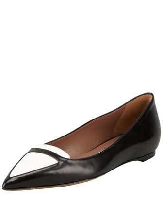 Alexa Bicolor Point-Toe Ballerina Flat