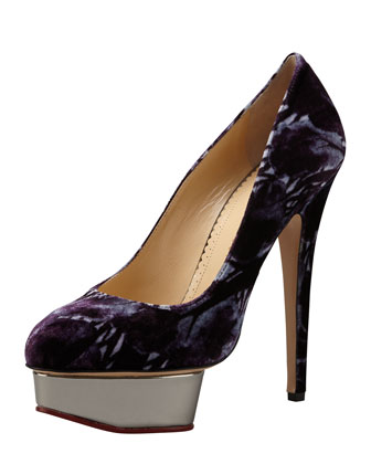 Dolly Forest-Print Platform Pump, Midnight