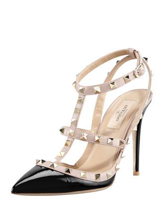 Rockstud Patent Sandal, Black
