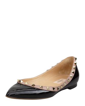 Rockstud Patent Ballerina Flat, Black