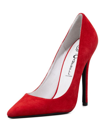 Darling Suede Point-Toe Pump, Red