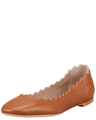 Scalloped Leather Ballerina Flat, Tan