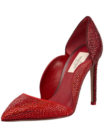 Rouge Absolute Crystal Suede Scallop Pump