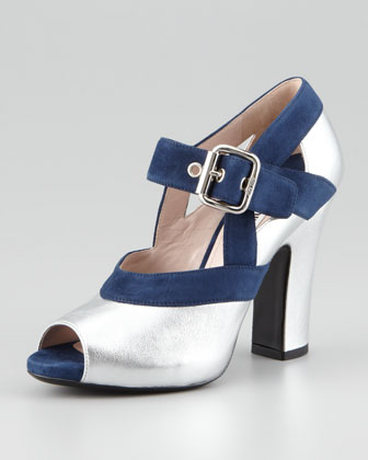 Metallic Peep-Toe Mary-Jane Pump