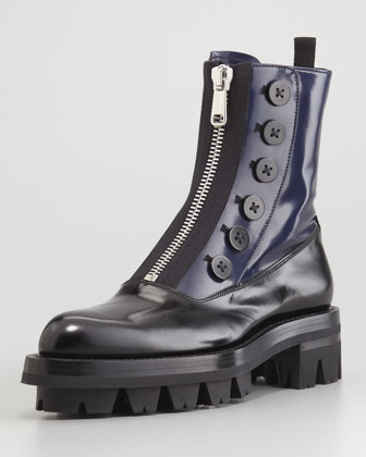 Bicolor Buttoned Zip-Front Combat Boot, Nero/Baltico