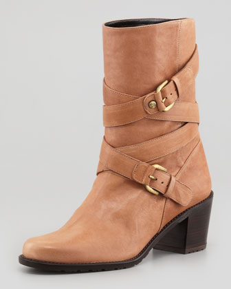 Dallas Buckled-Strap Leather Boot, Camel