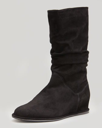 Harbor Slouchy Suede Wedge Boot, Black