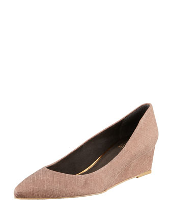 Nuevo Point-Toe Saffiano Wedge, Haze