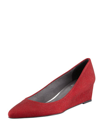 Nuevo Point-Toe Saffiano Wedge, Scarlet