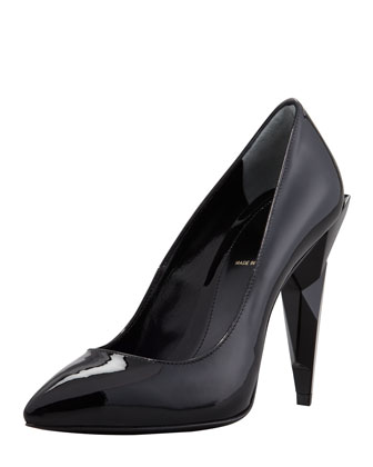 Patent Diamond-Heel Pump, Black