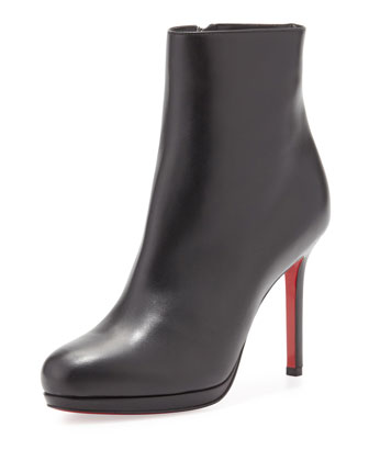 Bootylili Leather Red Sole Ankle Boot, Black