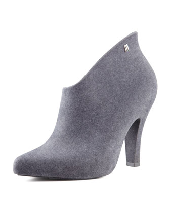Drama Flocked Waterproof Bootie, Gray