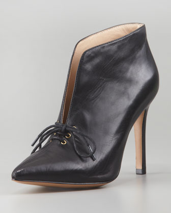 Camille Pointy-Toe Lace-Up Bootie