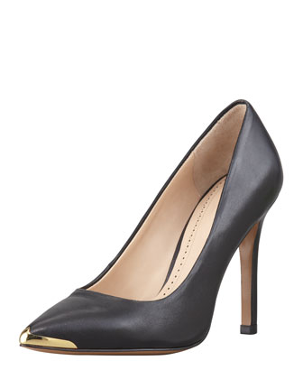Christelle Metal-Tip Pointy-Toe High-Heel Pump, Black