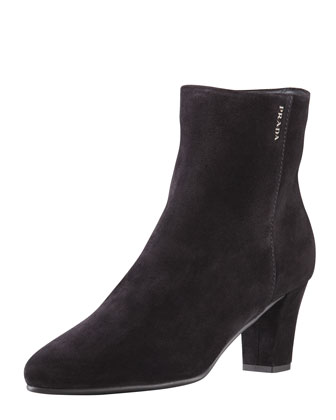 Mid-Heel Suede Ankle Boot, Black