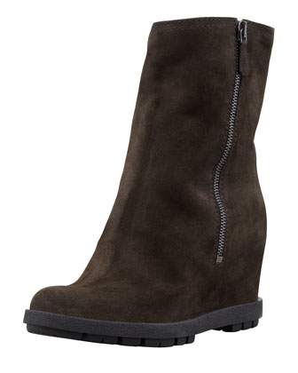 Suede Double-Zipper Wedge Ankle Boot, Gray