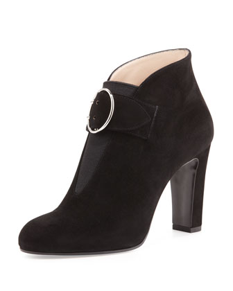 Suede Buckle-Strap Ankle Boot, Black