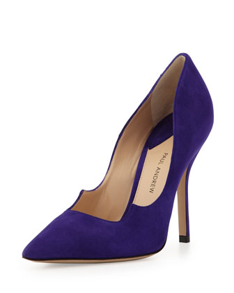 Zenadia Suede Peaked-Vamp Pointed-Toe Pump, Violet