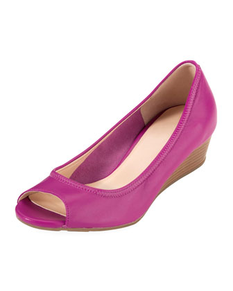 Air Tali Patent Peep-Toe Wedge, Tourmaline
