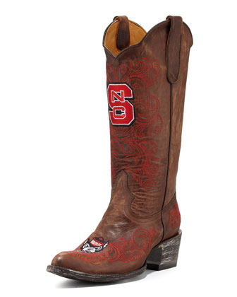 North Carolina State Tall Gameday Boots, Brass