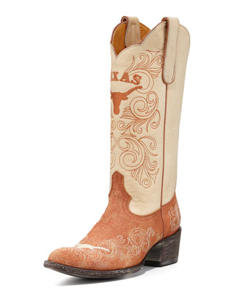 University of Texas Tall Gameday Boots, White/Orange