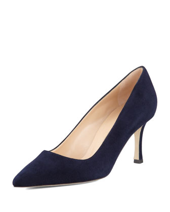 BB Suede 70mm Pump, Navy (Made to Order)