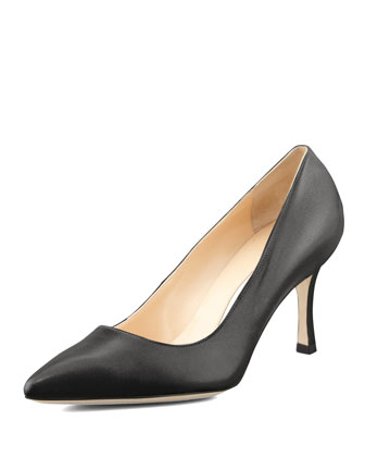 BB Leather 70mm Pump, Black (Made to Order)