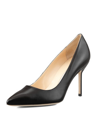 BB Leather 90mm Pump, Black (Made to Order)
