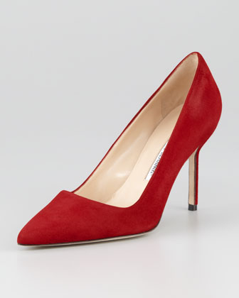 BB Suede 90mm Pump, Scarlet