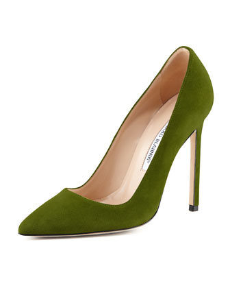 BB Suede 115mm Pump, Green