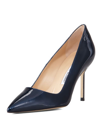 BB Shimmer Patent 90mm Pump, Navy (Made to Order)