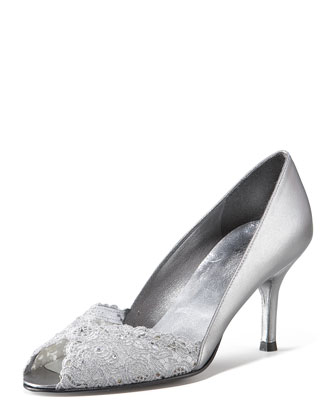 Chantilly Lace Peep-Toe Pump, Aluminum