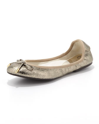 City Crackled Metallic Ballet Flat